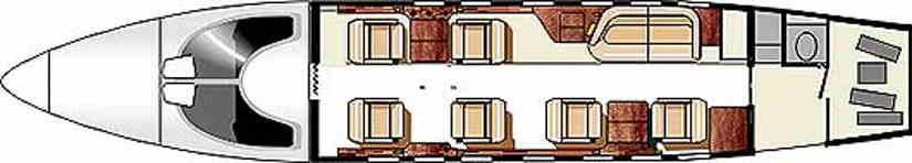 схема самолета Learjet 31