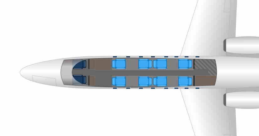 схема самолета Learjet 45 XR