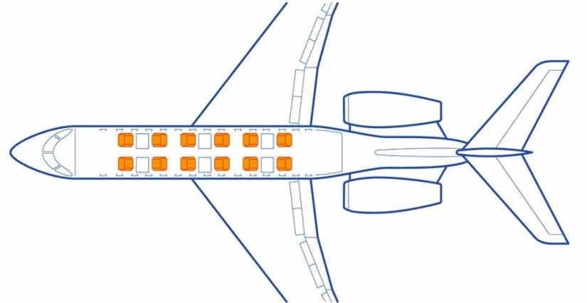 схема самолета Learjet 70
