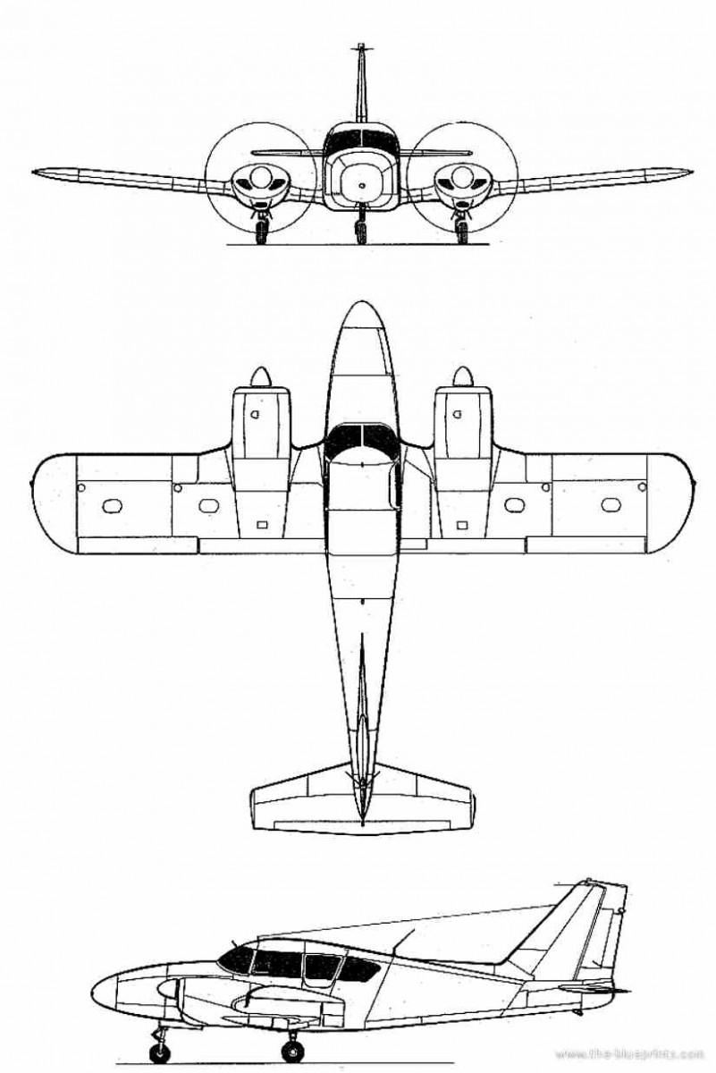 схема самолета Piper Aztec