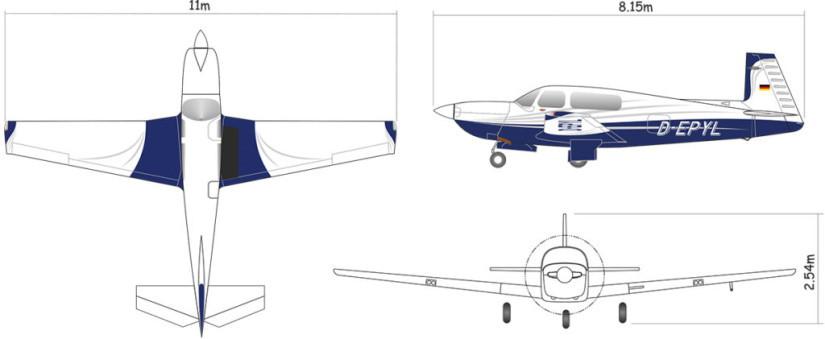 схема самолета Mooney M20U