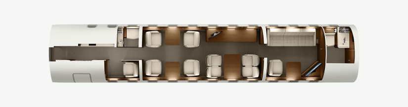 схема самолета Bombardier Global 8000