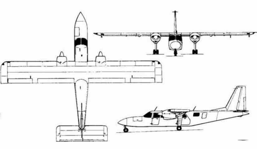 схема самолета Britten-Norman Islander